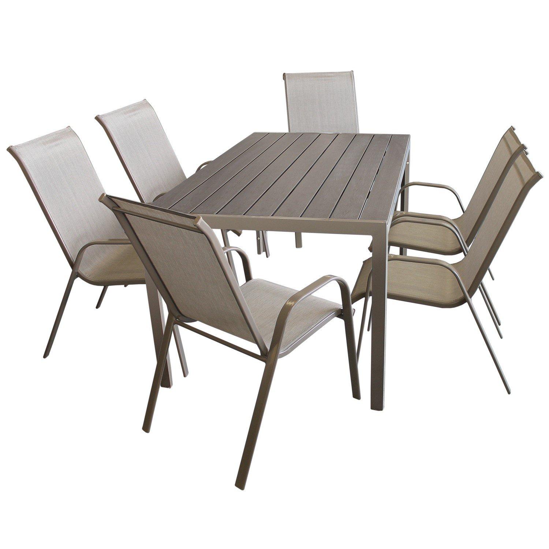 7tlg sitzgarnitur gartengarnitur set aluminium polywood non wood gartentisch 150x90cm 6x. Black Bedroom Furniture Sets. Home Design Ideas