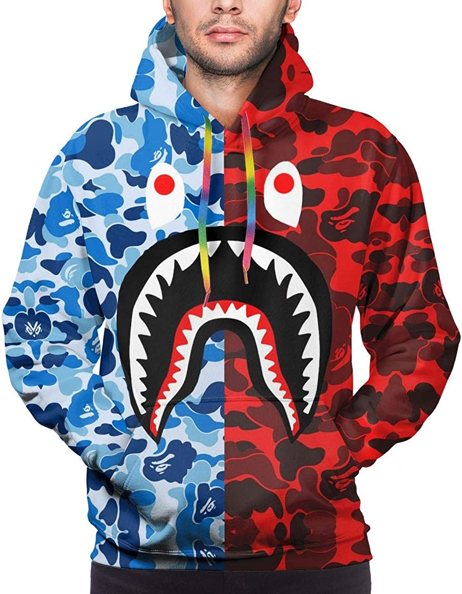 Gray Pink Bape Blood Shark Men's 3D Long Sleeves Hoodie Sportswear Sport Hooded Sweatshirt Lightweight Pullover