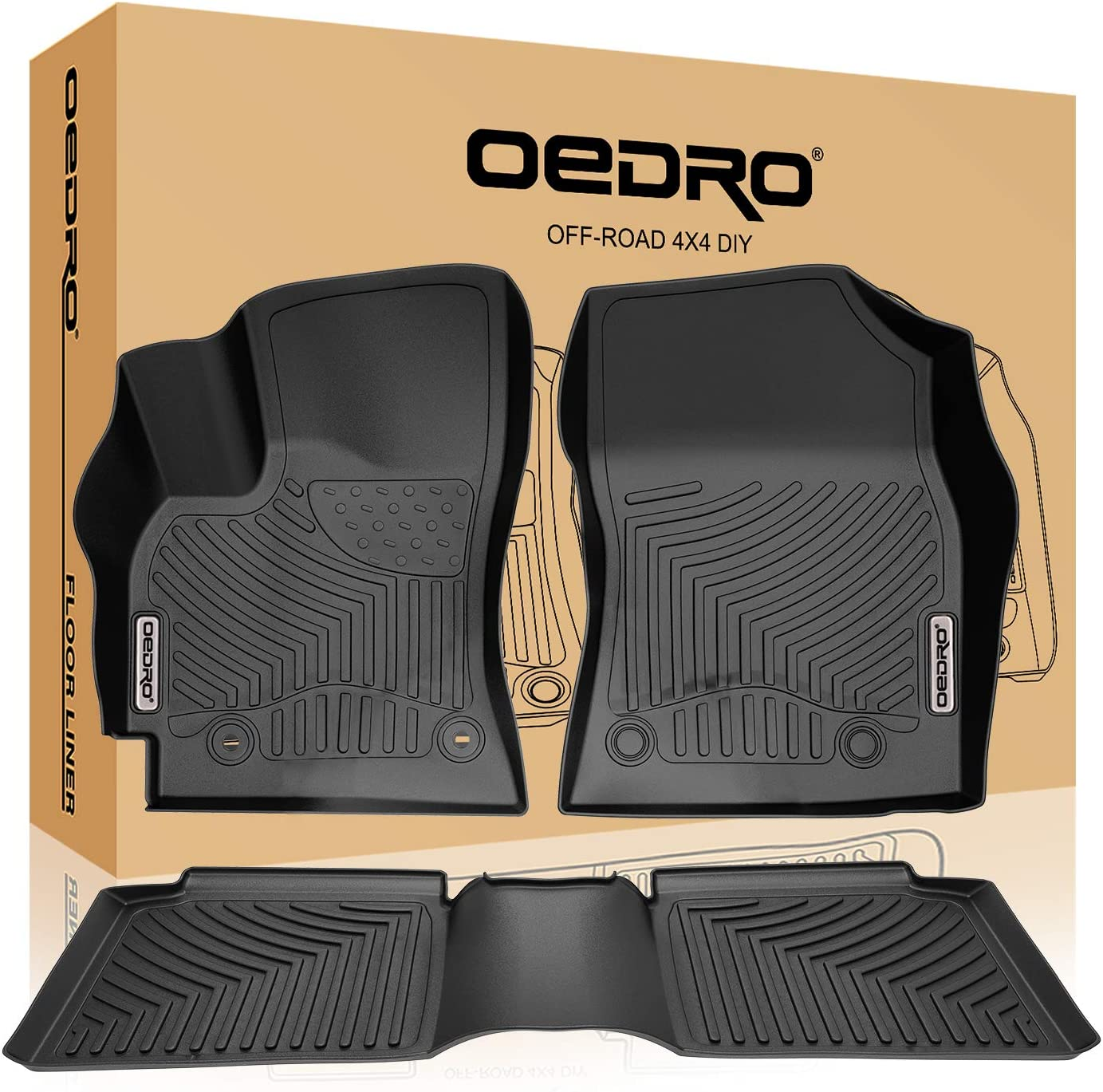 oEdRo Custom Fit Floor Mats for 2014-2016 Toyota Corolla with Automatic Transmission All Weather Front /& 2nd Seat Floor Liners