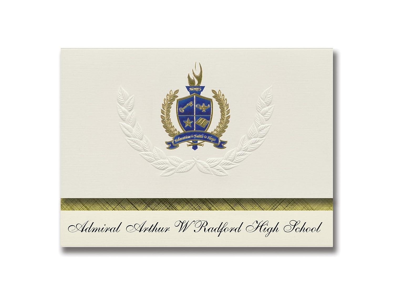 Signature Announcements Admiral Arthur W Radford High School (Honolulu, HI) Graduation Announcements, Presidential Elite Pack 25 with Gold & Blue Metallic Foil seal