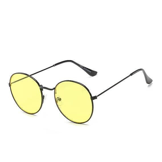 053ada0a1d Vast Retro Round Night Vision Unisex Sunglasses  (3447 C18 YELLOW NIGHT VISION)  Amazon.in  Clothing   Accessories
