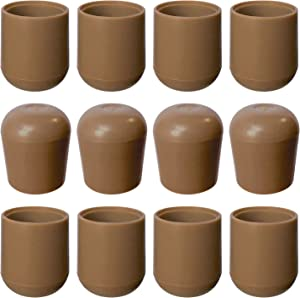 Folding Chair Leg Caps Beige 7/8 Inch (12 Pack) - Heavy Duty Nylon Chair End Caps, Non-Marring Round Hardwood Floor Protectors, Compatible Replacement Plugs for Metal and Padded Folding Chairs Tips
