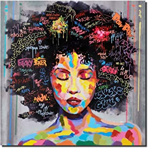 Pinetree Art African American Black Art Wall Decor Canvas Wall Art, Original Designed Pop Graffiti Style Oil Painting on Canvas Poster Print Without Frame(16 x 20 inch, B Unframed)