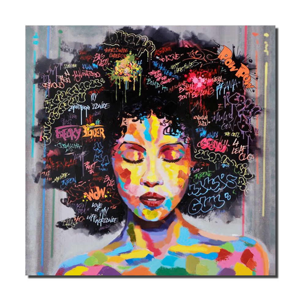 Pinetree Art African American Black Art Canvas Wall Art, Original Designed Pop Graffiti Style Canvas Painting On Poster Print Without Frame (24 X 24 Inch, B Unframed) by Pinetree Art