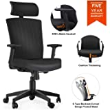 Ergonomic Office Chair, Komene Computer Desk Chairs with Adjustable Headrest, Armrests, Seat Height, Reclines, High Back with Breathable Mesh More Comfortable for Height Under 5′11″