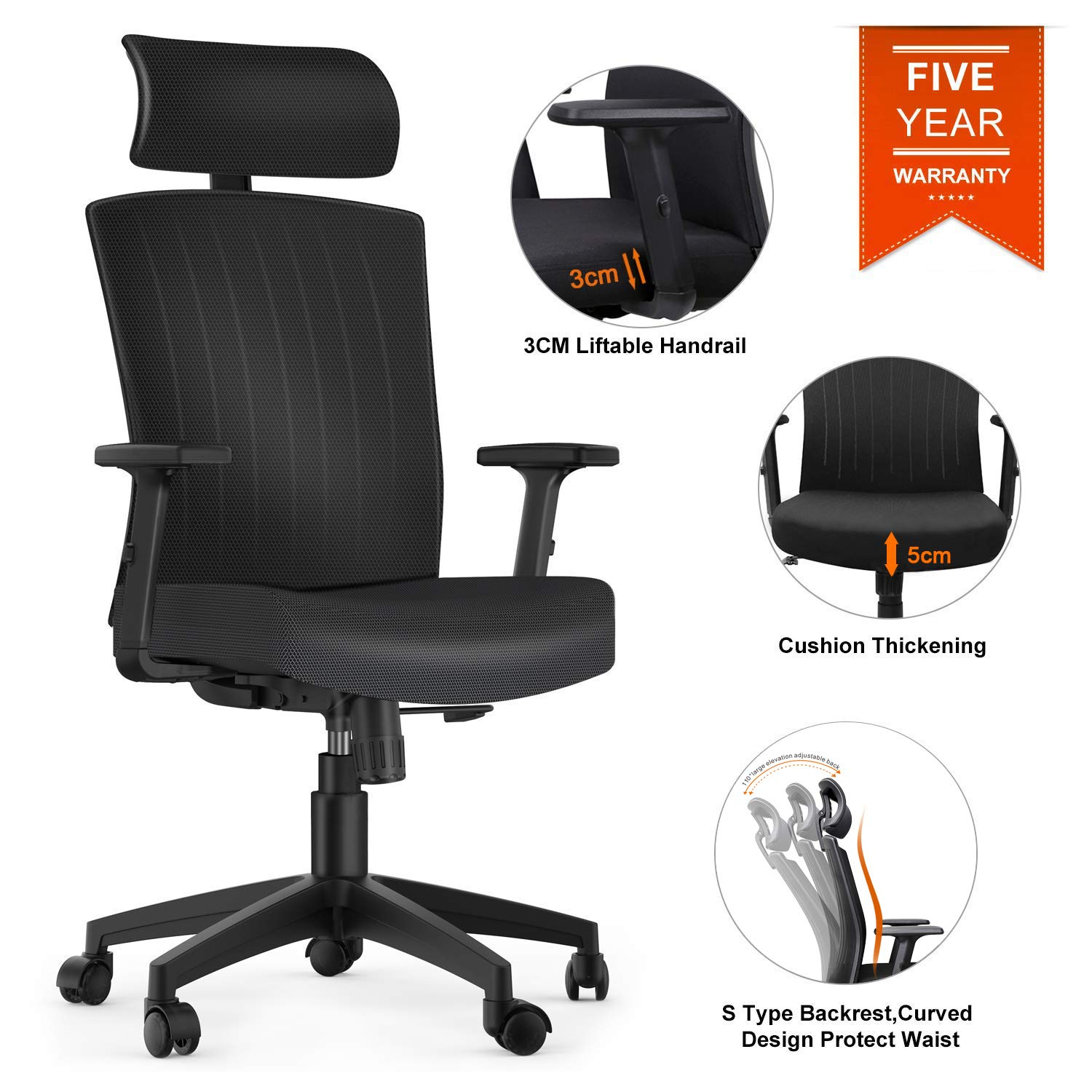 Komene Computer Desk Chairs with Adjustable Headrest,Armrests, Seat Height,High Back
