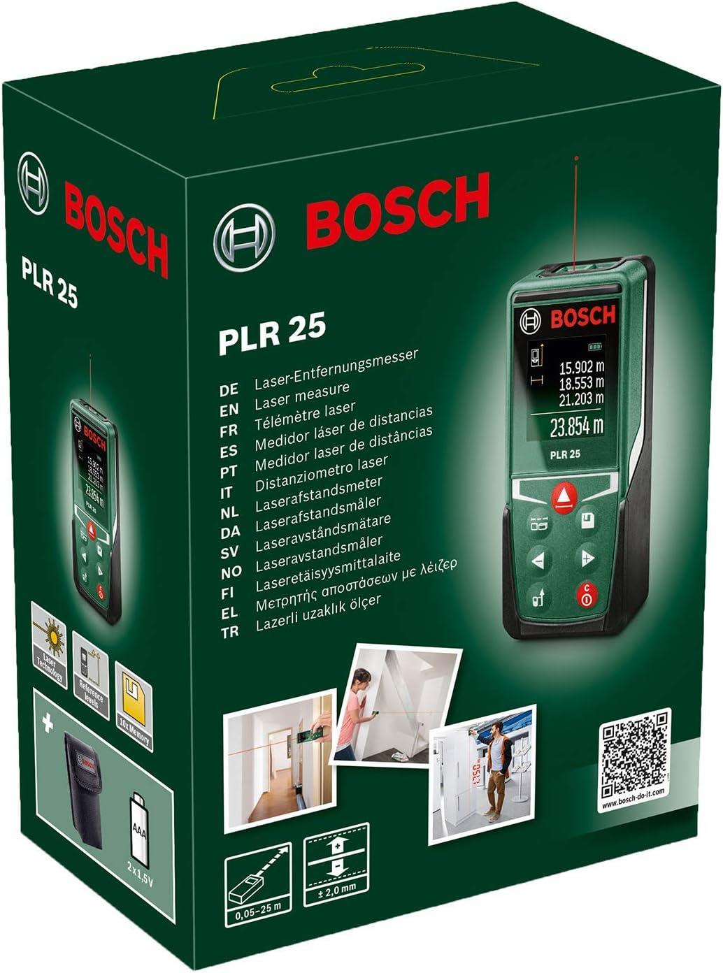 Bosch Medidor l/áser a distancia PLR 25 2  pilas AAA 1.5 V