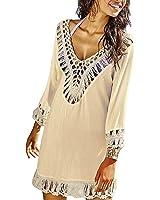 Women's Bathing Suits Cover Up Beach Bikini Swimsuit Swimwear Crochet Dress (One Size, Beige)