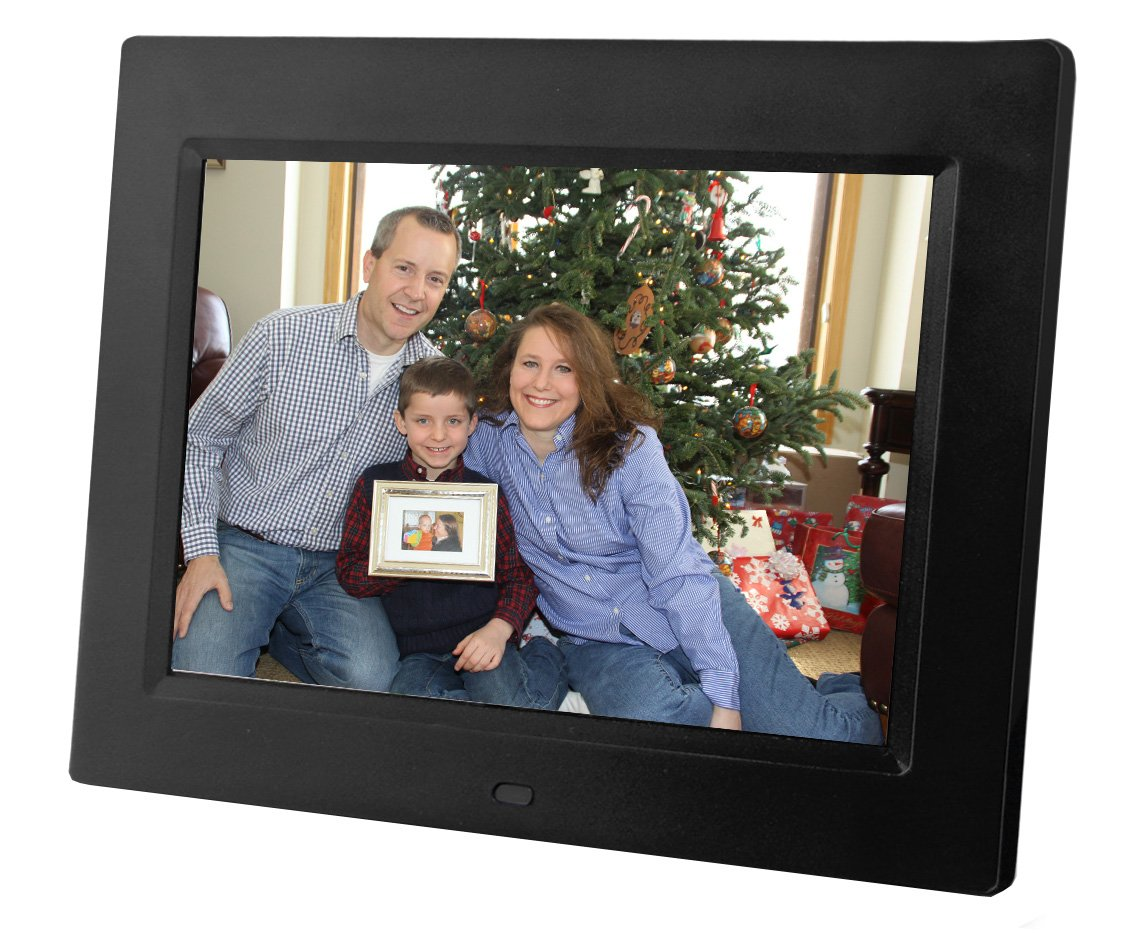 8 inch Digital Photo Frame and multimedia player - Display Videos and Photos and set music to play. Includes 4GB internal storage, SD Card and USB Connections, and a variety of transition effects