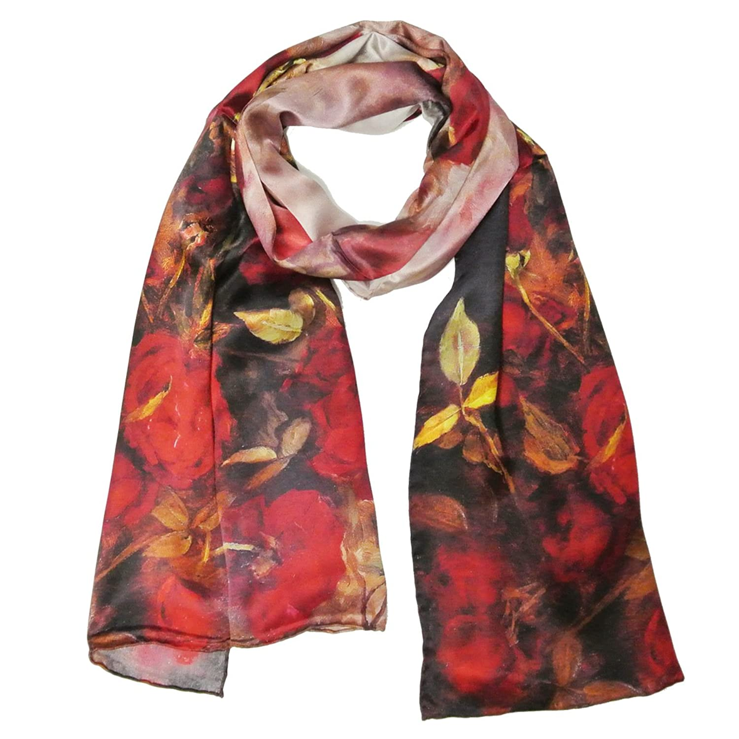 Allydrew Luxurious 100% Charmeuse Silk Floral Painting Long Scarf with Hand Rolled Edges, Red Roses