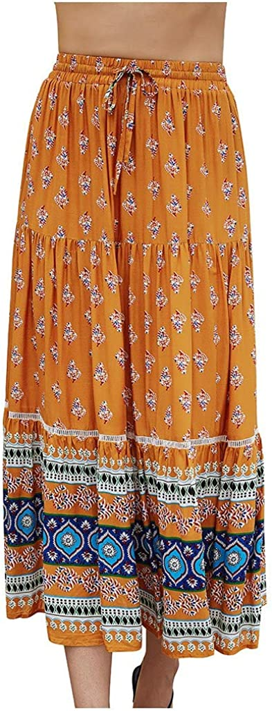 MOTOCO Womens Boho Vintage Floral Print A Line Mid Calf Skirt Elastic Waist Beach Wrap Skirts