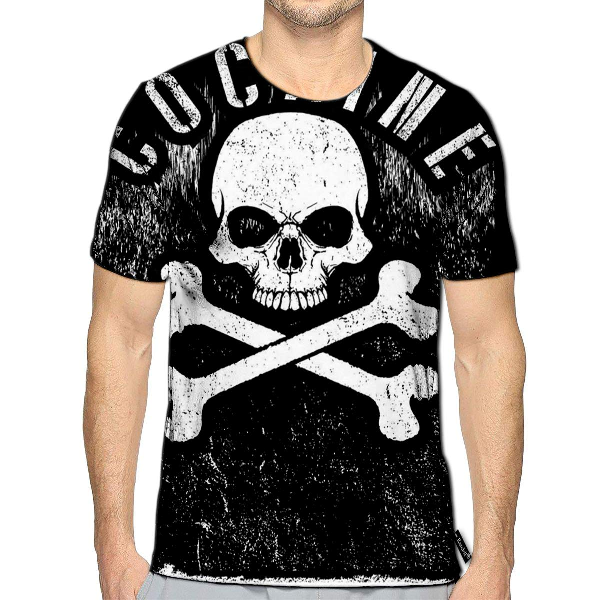 Randell 3D Printed T-Shirts Skull Cocaime Short Sleeve Tops Tees