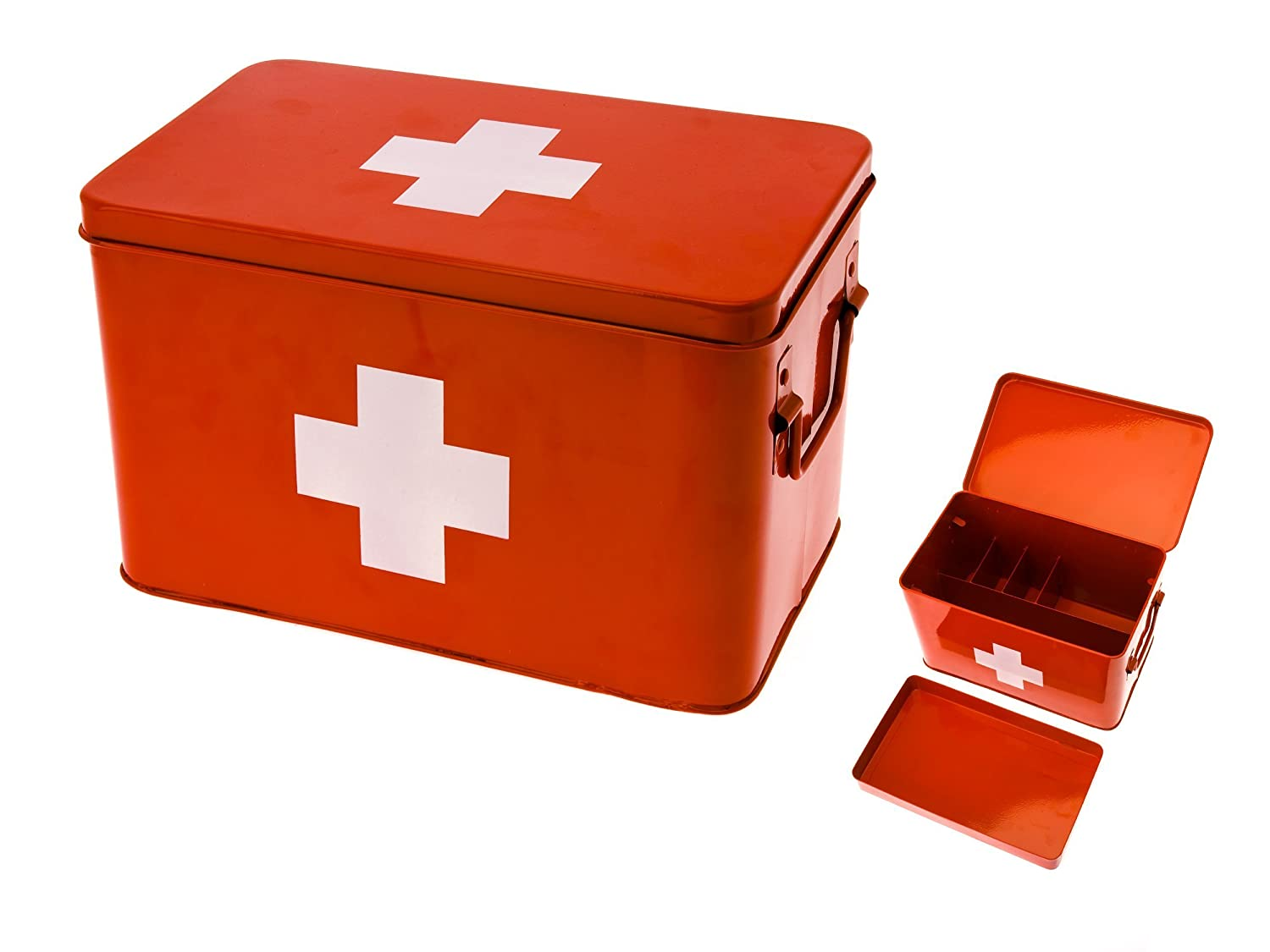 Amazon.com: Present Time Red With White Cross Metal Medicine Storage Box,  Large: Home U0026 Kitchen