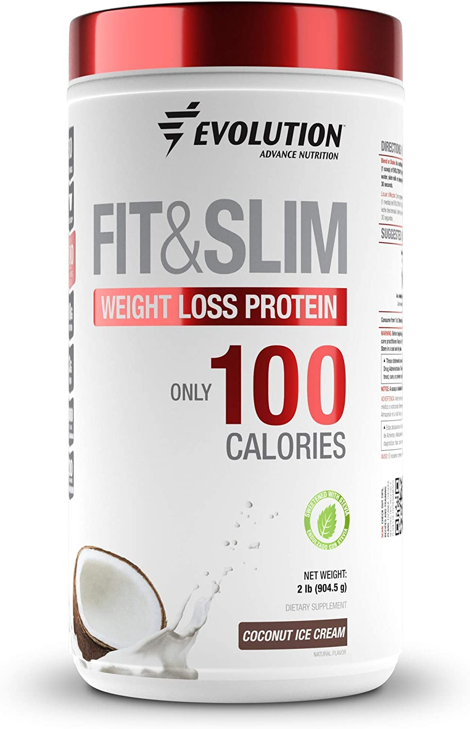 Evolution Advance Nutrition Fit & Slim Blend - Grass Fed Whey Protein with Glucomannan, Inulin Fiber, High Protein, High Fiber, Pure, Keto Approved, Non GMO, Stevia Sweetened – 2 Pounds (Coconut)