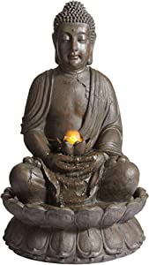 "John Timberland Meditating Buddha Asian Zen Outdoor Water Fountain with Light LED 33 1/2"" High for Table Yard Garden Patio Deck Home Relaxation"