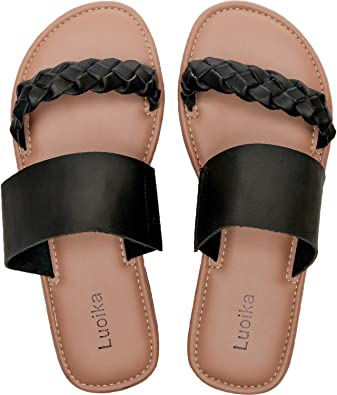 Luoika Women's Wide Width Slide Sandals