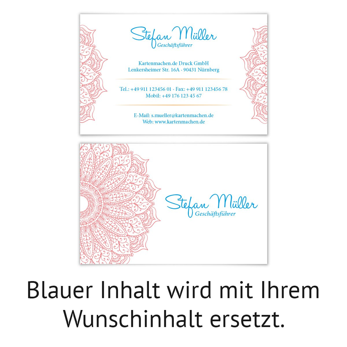 Erfrischende Blume 100 x Visitenkarten individuell Business Karten 300g//qm 85 x 55 mm