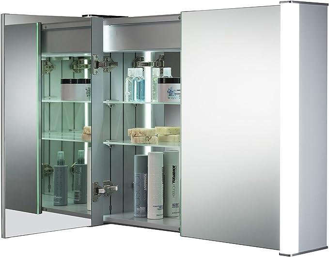 A x 80cm e Presa per Rasoio Neue Design Armadietto con Specchio Illuminato a LED da Bagno C13 con sensori Anti-Appannamento L x 16cm Interruttore Touch e luci LED 65cm P