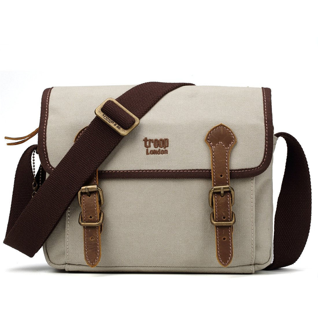 c41925052 TRP0412 Troop London Heritage Canvas Leather Small Messenger Bag, Canvas  Leather Small Satchel (Washed Stone): Amazon.co.uk: Clothing