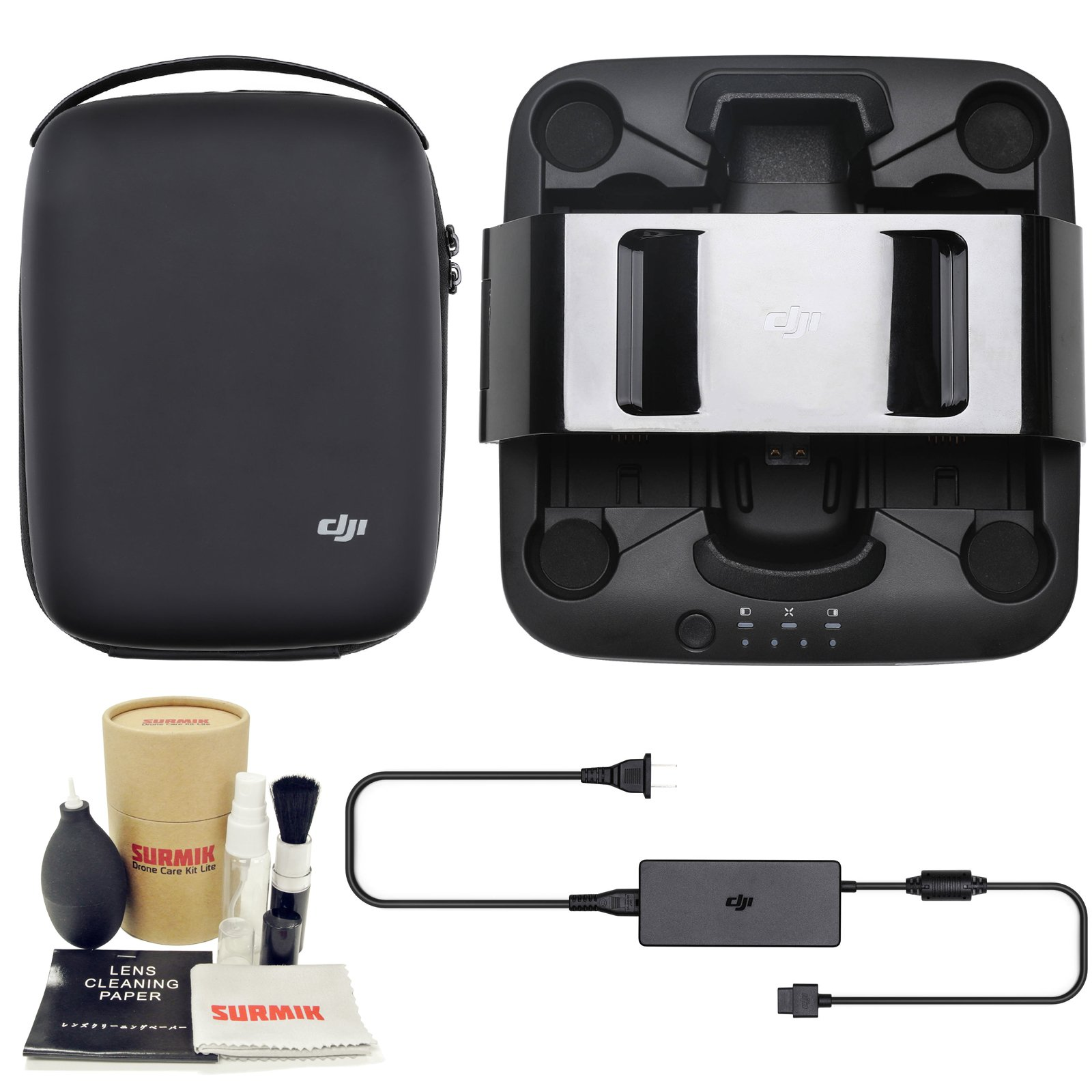 DJI Spark Portable Charging Station Bundle with Charging Station Bag Case and Surmik Drone Care Kit