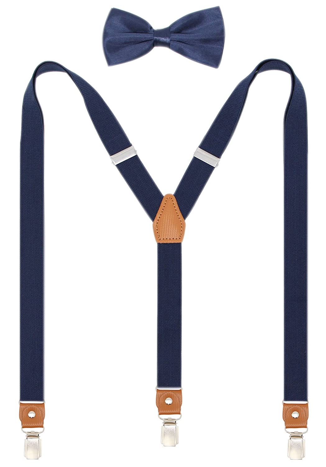 Suspenders and Pre Tied Bow Tie For Men Y Shape Strong Clips Adjustable Braces