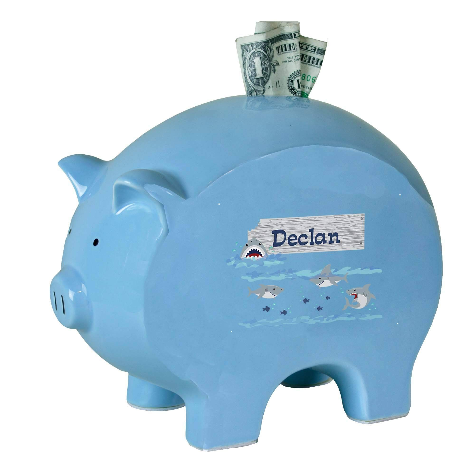 Personalized Blue Piggy Bank with Shark Tank Design