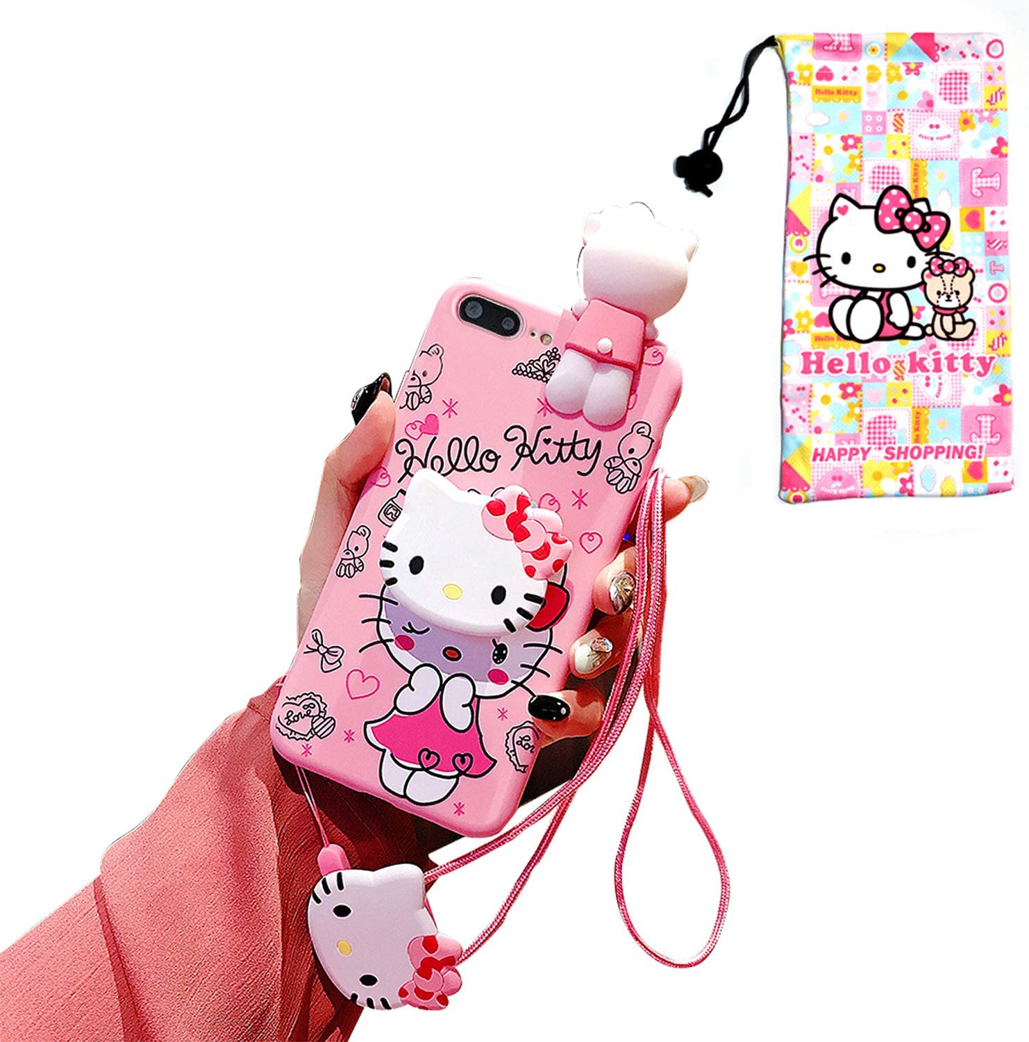 "Cute Kitty iPhone 8 Plus Case/iPhone 7 Plus Case, 3D Cartoon Kawaii Case for Kids Girls, Funny Animal Character Silicone Cover Case for Apple iPhone 7 Plus, iPhone 8 Plus 5.5"" with Holder Lanyard Doll"