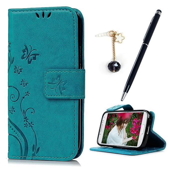 MAXFE.CO Leder Tasche Case für Samsung Galaxy S4 Mini i9190 Hülle PU Schutz Etui Schale Backcover Flip Cover Wallet im Bookst