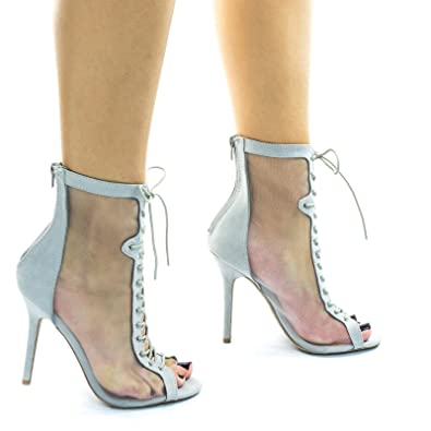 705e3c34db27f Amazon.com | See Through Mesh High Ankle Bootie w Corset Combat Lace Up &  Peep Toe | Mid-Calf