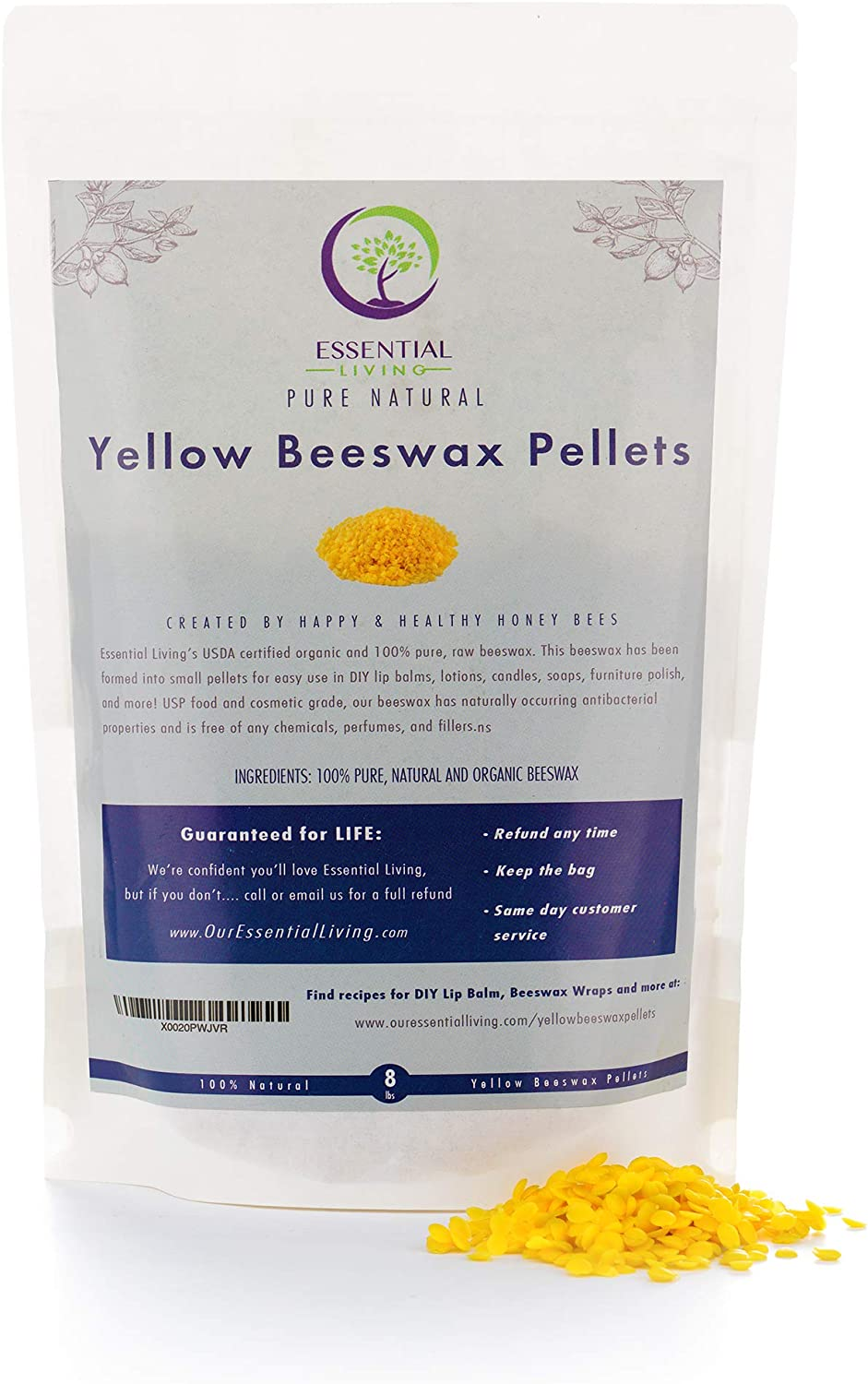 1 Pound -Yellow Organic Beeswax Pellets, Certified Organic, Food Grade, Cosmetic Grade, Great for DIY Lip Balms, Candles, Beeswax Reusable Food Wraps