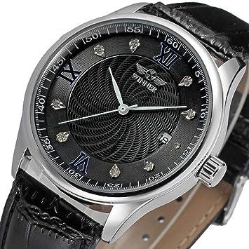 Winner Reloj para Hombres Mecánico automático Diamante-Montaje Dial 3-Pointer Correa de Cuero