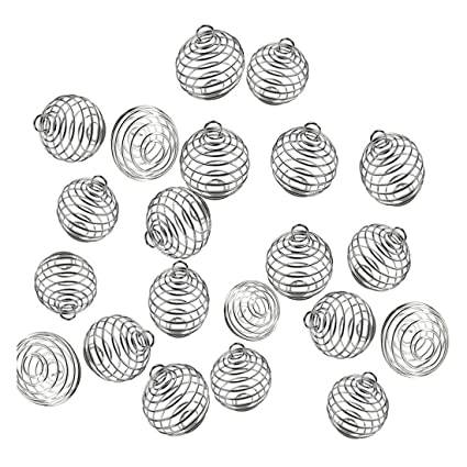 30 PCs 3 Sizes Silver Plated Stone Holder Necklace Cage Pendants Findings for Jewelry Making and Crafting JIALEEY Spiral Bead Cages Pendants