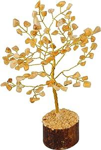 Crocon Yellow Aventurine Gemstone Money Tree Feng Shui Bonsai for Reiki Healing Chakra Stone Balancing Energy Generator Spiritual Home Interior Office Decor Size: 7-8 Inch