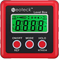 Neoteck Digital Angle Finder LCD Digital Angle Gauge Waterproof Protractor Inclinometer Bevel Box for Helicopter/Bevel Angle of Miter Saw/Automobile Test and Repair and ect- Red