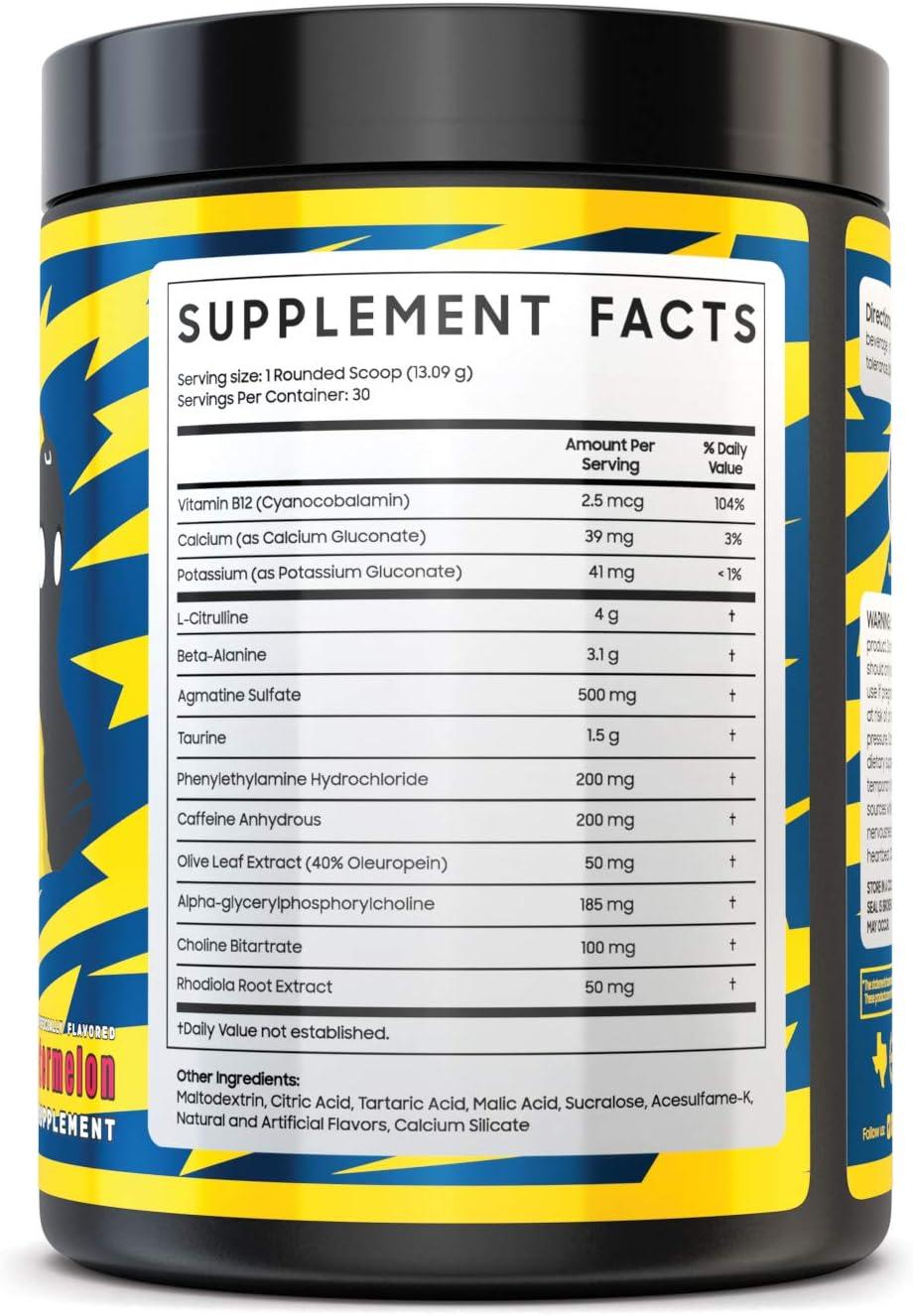 Myth Journey Pre Workout Powder – Energy Supplement Preworkout for Men Women – Caffeine, Alpha GPC, L-Citrulline, Beta-Alanine – Electric Watermelon, 30 Servings 2019 Formula