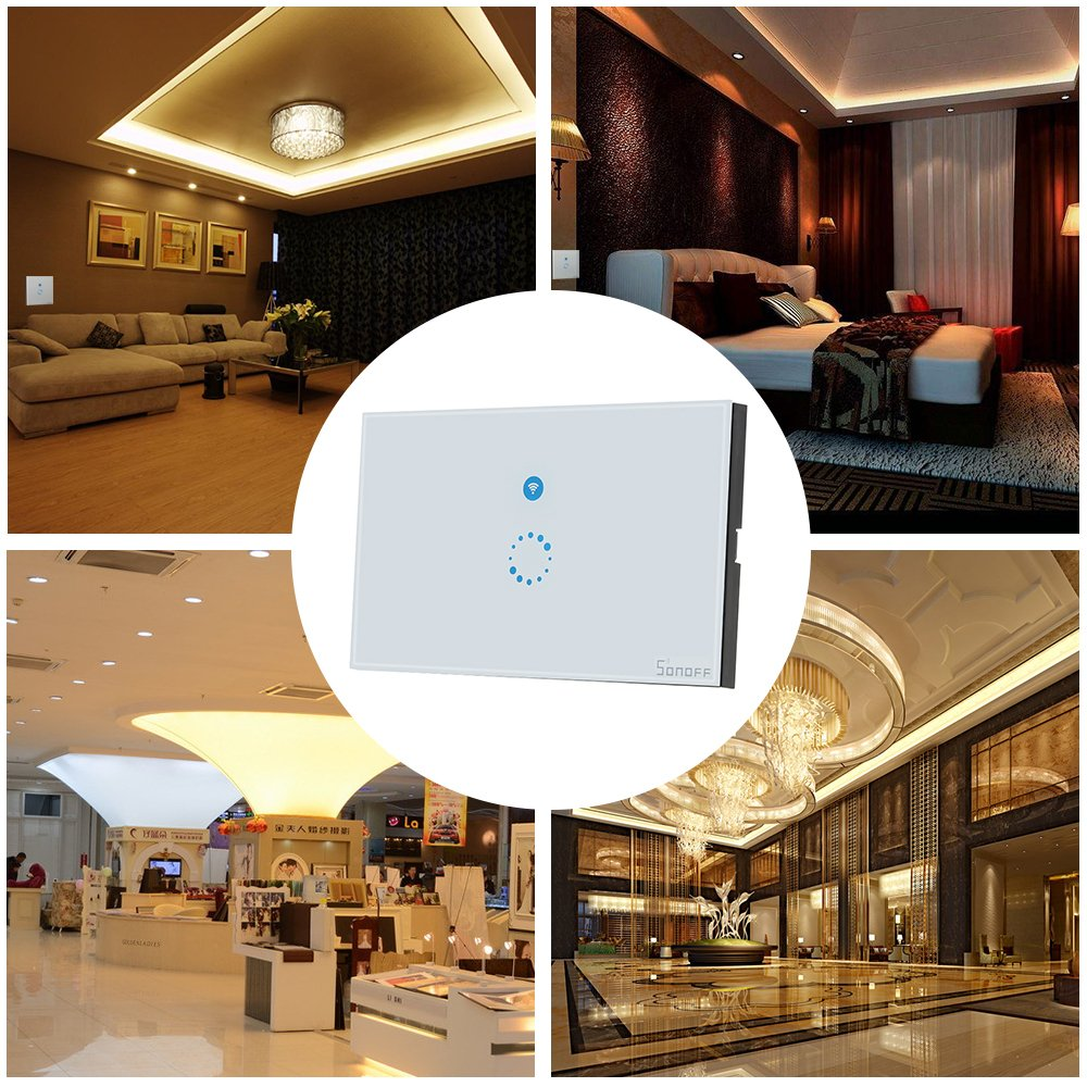 KKmoon SONOFF Touch Wifi Luxury Glass Panel Touch Screen LED Light US Wireless 1 Gang Timer Wall Touch Switch Phone APP Remote Control by KKmoon (Image #9)