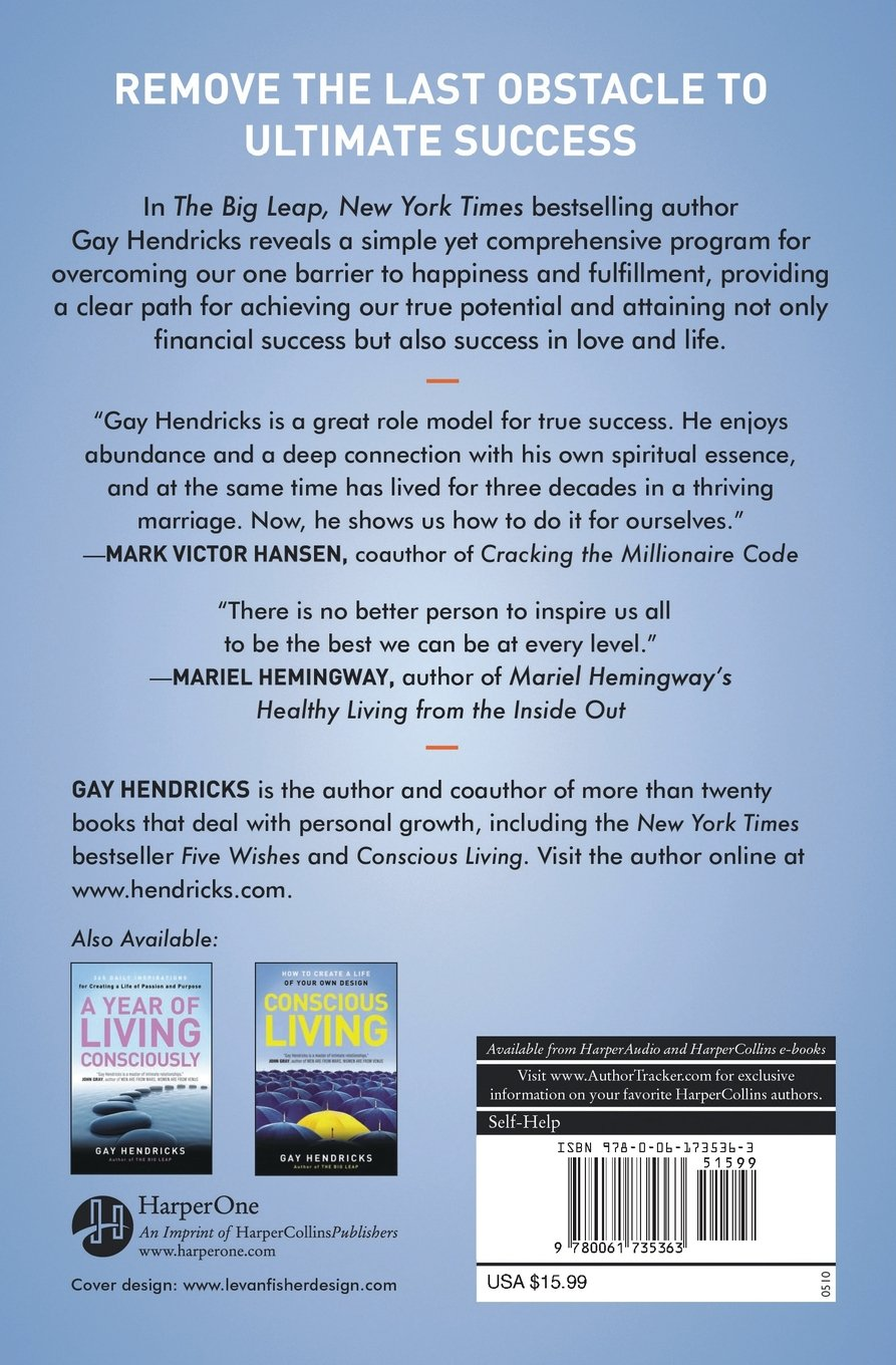 The Big Leap: Conquer Your Hidden Fear And Take Life To The Next Level:  Gay, Phd Hendricks: 0000061735361: Books  Amazon