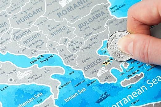 Framed Europe Map with Scratch off – Große Detaillierte Rubbel ...