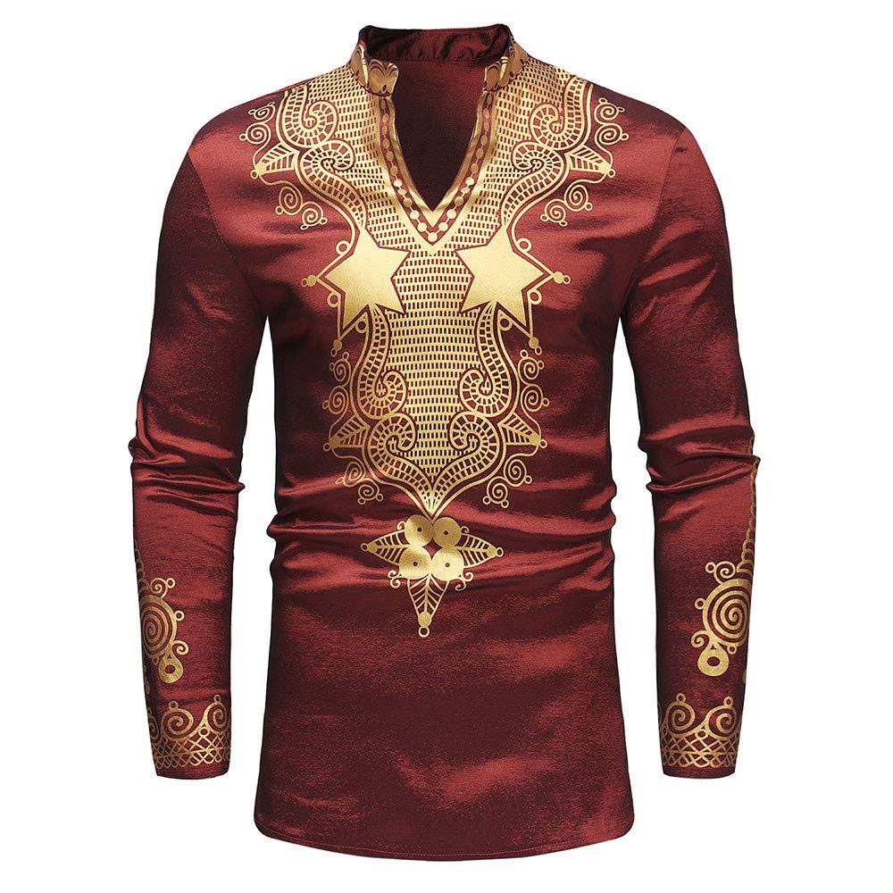 iZHH Shirts for Men African Print Long Sleeve Dashiki Shirt Top Blouse Tee Red