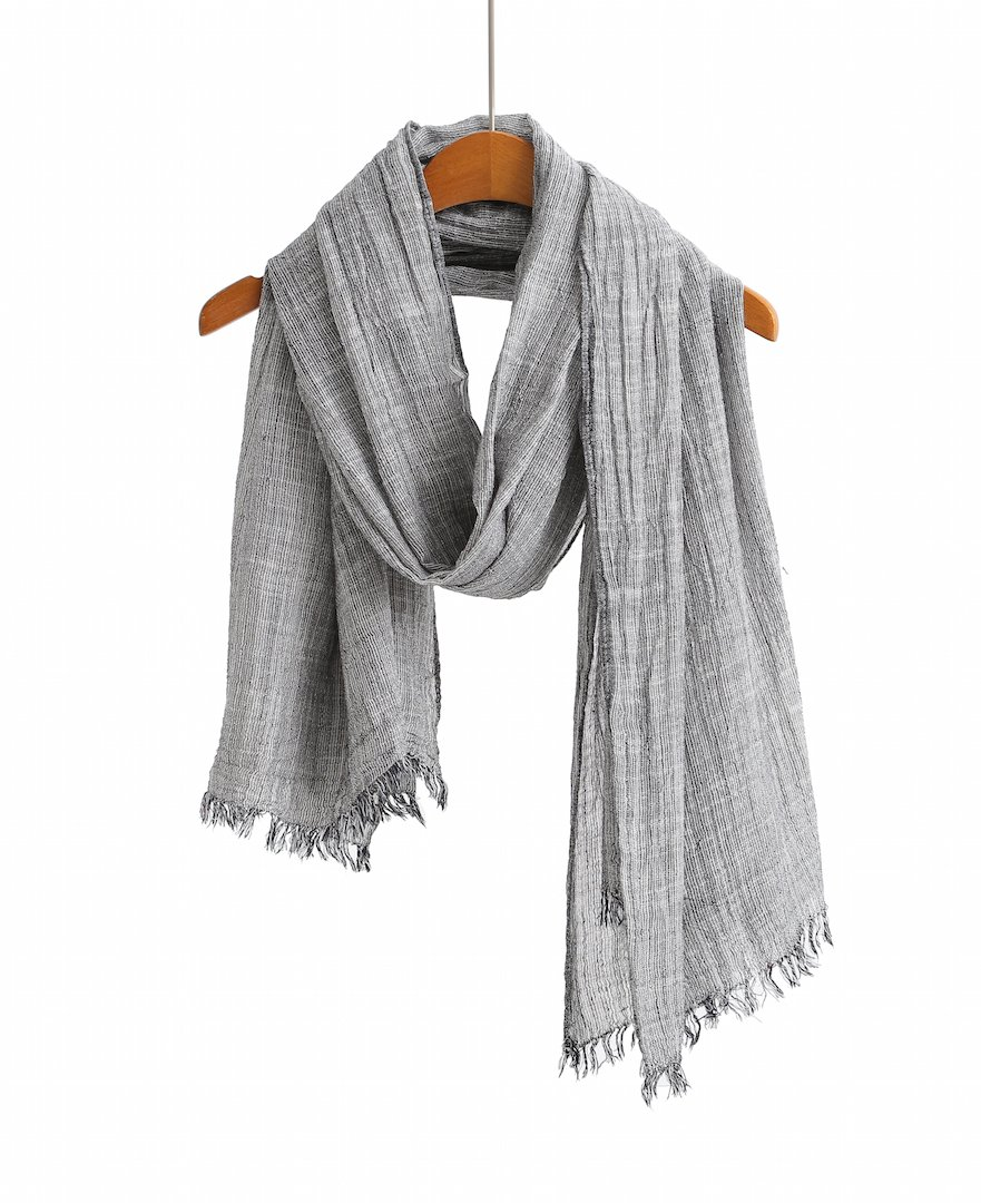 100% Cotton Scarf Shawl Super Soft Lightweight Scarves And Wraps For Men And Women. Unisex. (Black Stripe)