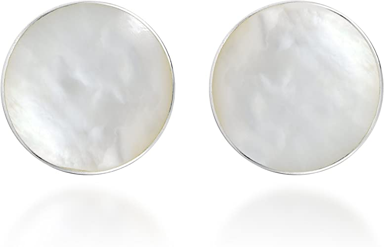 Women/'s Jewelry 925 Sterling Silver Square Stud Earrings With Mother of Pearl