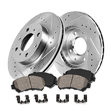Rear Drilled And Slotted Brake Rotors For 2012 2013 2014 2015 2016 Fiat 500