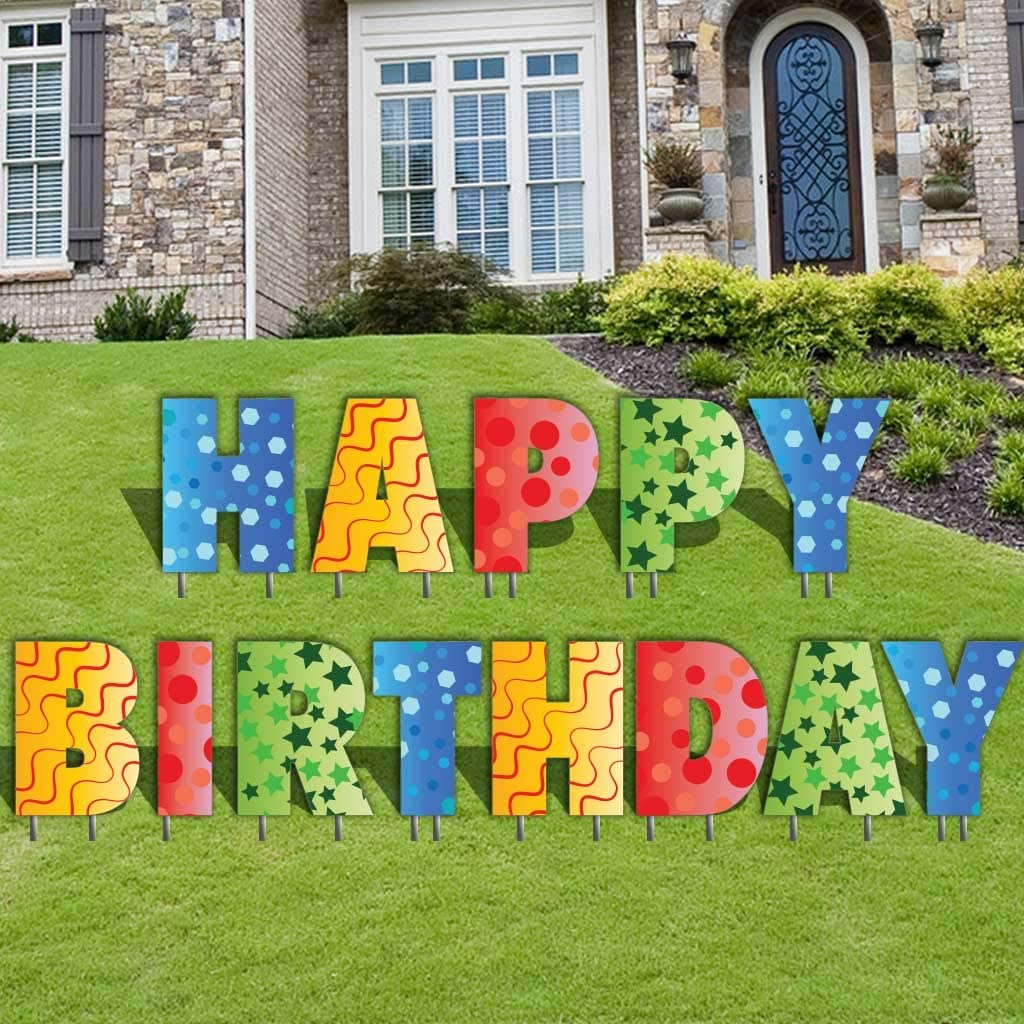 Amazon Com Happy Birthday Letters Yard Card 20 Inch Letters Set Of 13 With Stakes 12354 Health Personal Care
