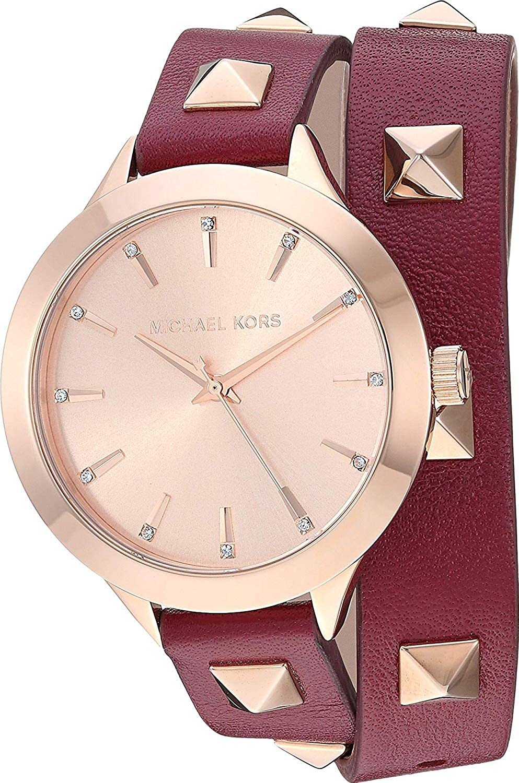 Amazon.com: Michael Kors Womens Slim Runway Merlot Leather One Size: Watches