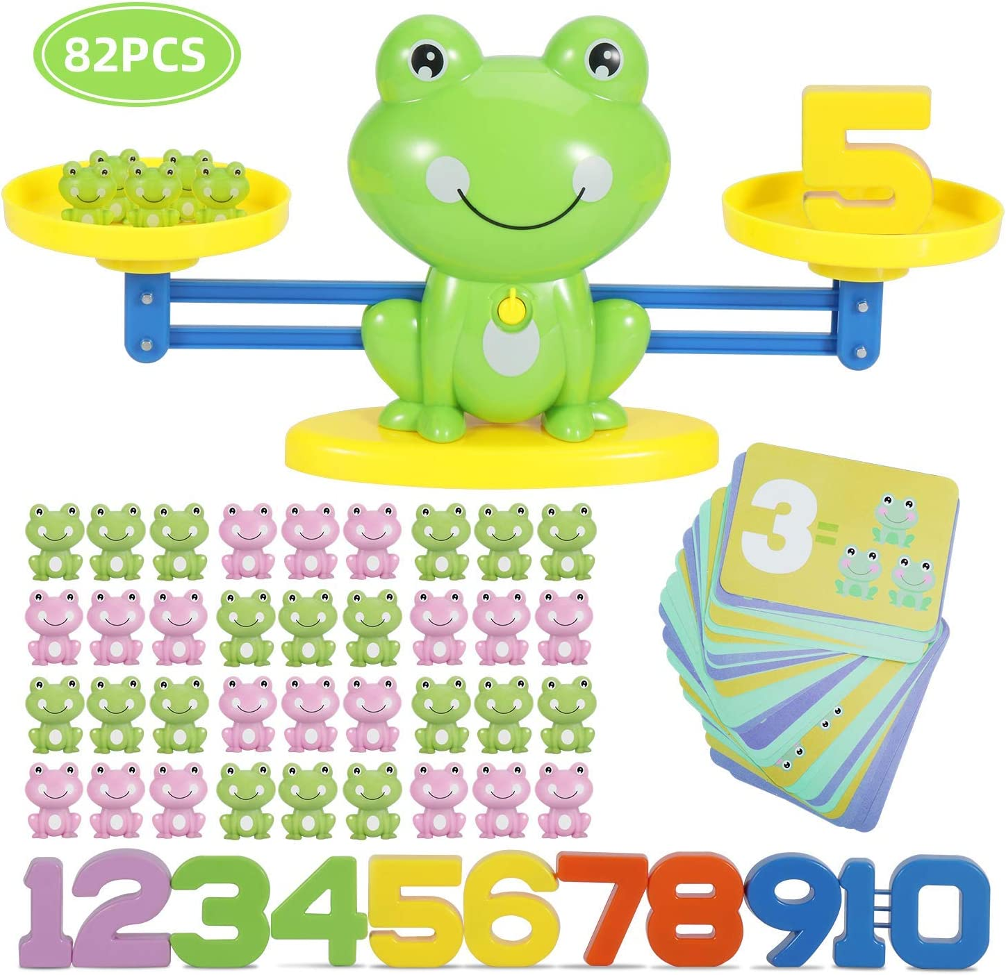 DmbsmOB Counting Toys-Frog Balance Montessori Educational STEM Math Counting Games & Balance Measuring Fun Number Learning Material for Girls & Boys Kids Ages 3+