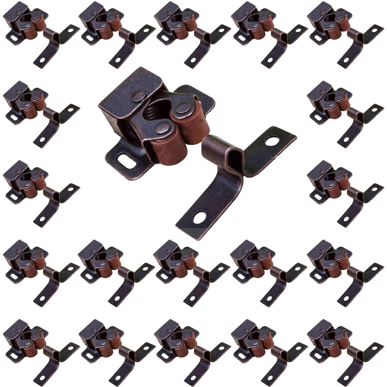 Gizhome 20 Pack Antique Bronzed Double Ball Roller Catch for Closet Door and Cabinet Cupboard Cabinet Door Tension Catch Latch