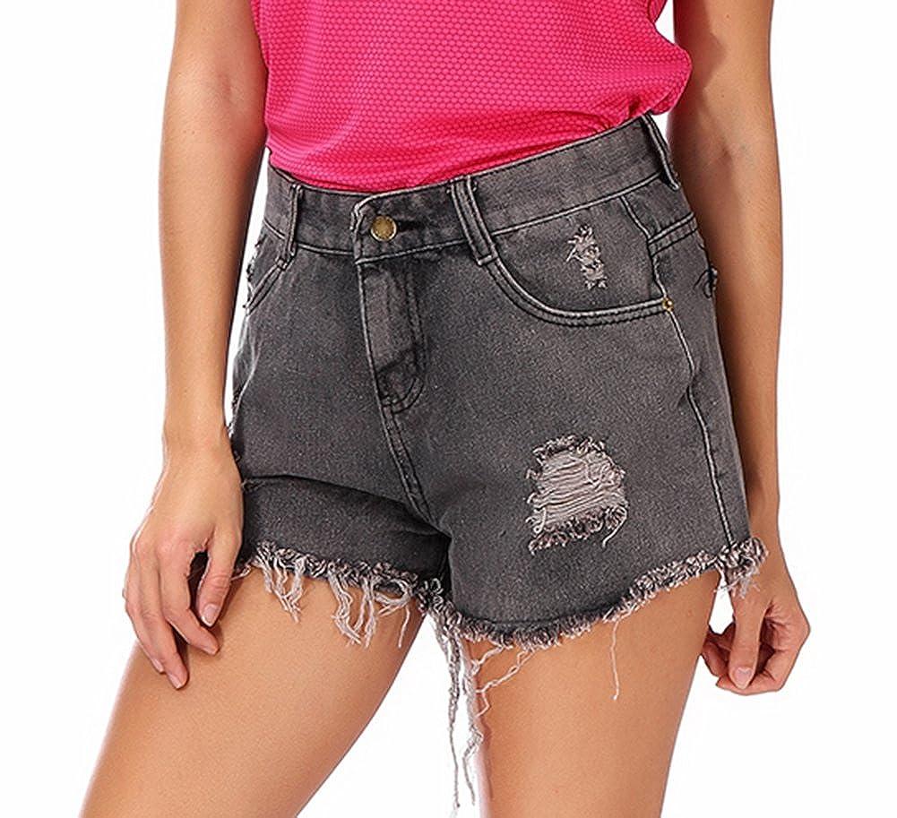 Womens Frayed Raw Hem Ripped Distressed Casual High Waist Denim Shorts
