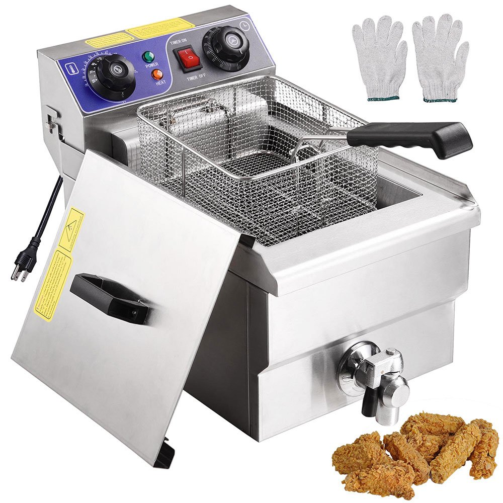 Yescom Commercial Professional Electric 11.7L Deep Fryer Timer and Drain Stainless Steel French Fry Restaurant Kitchen by Yescom (Image #1)