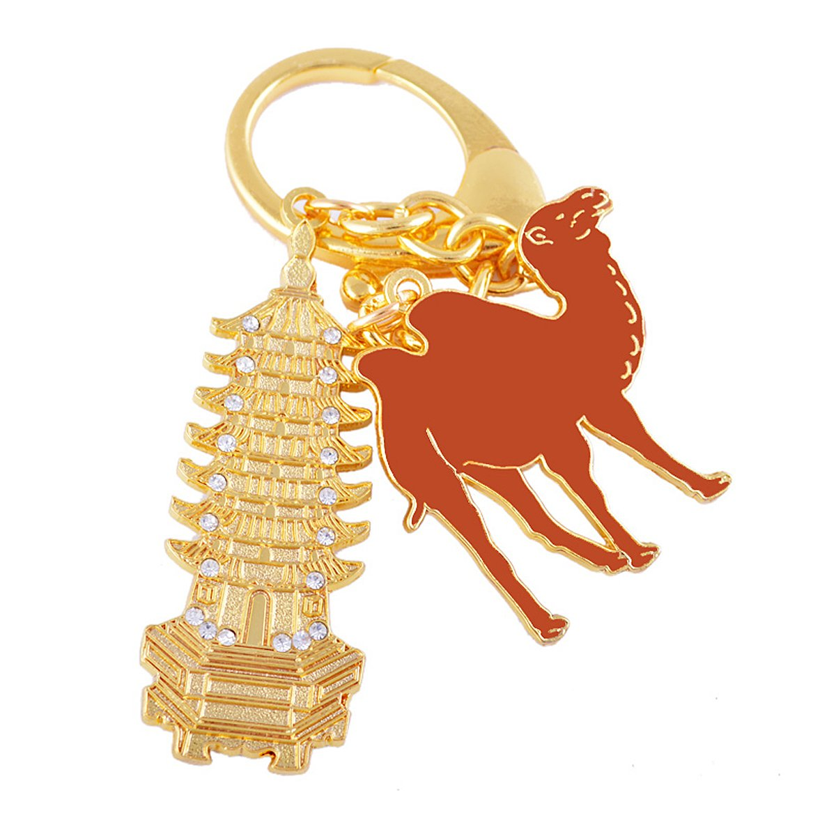 Fengshui siete nivel Pagoda con camello amuleto llavero ...