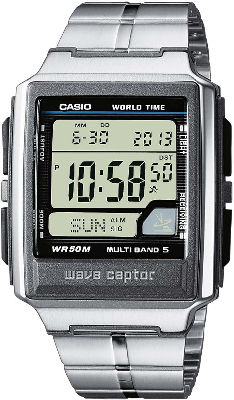 Casio WAVE CEPTOR Reloj Radiocontrolado, Caja de acero inoxidable y resina, Negro, para Hombre, con Correa de Acero inoxidable, WV-59DE-1AVEF